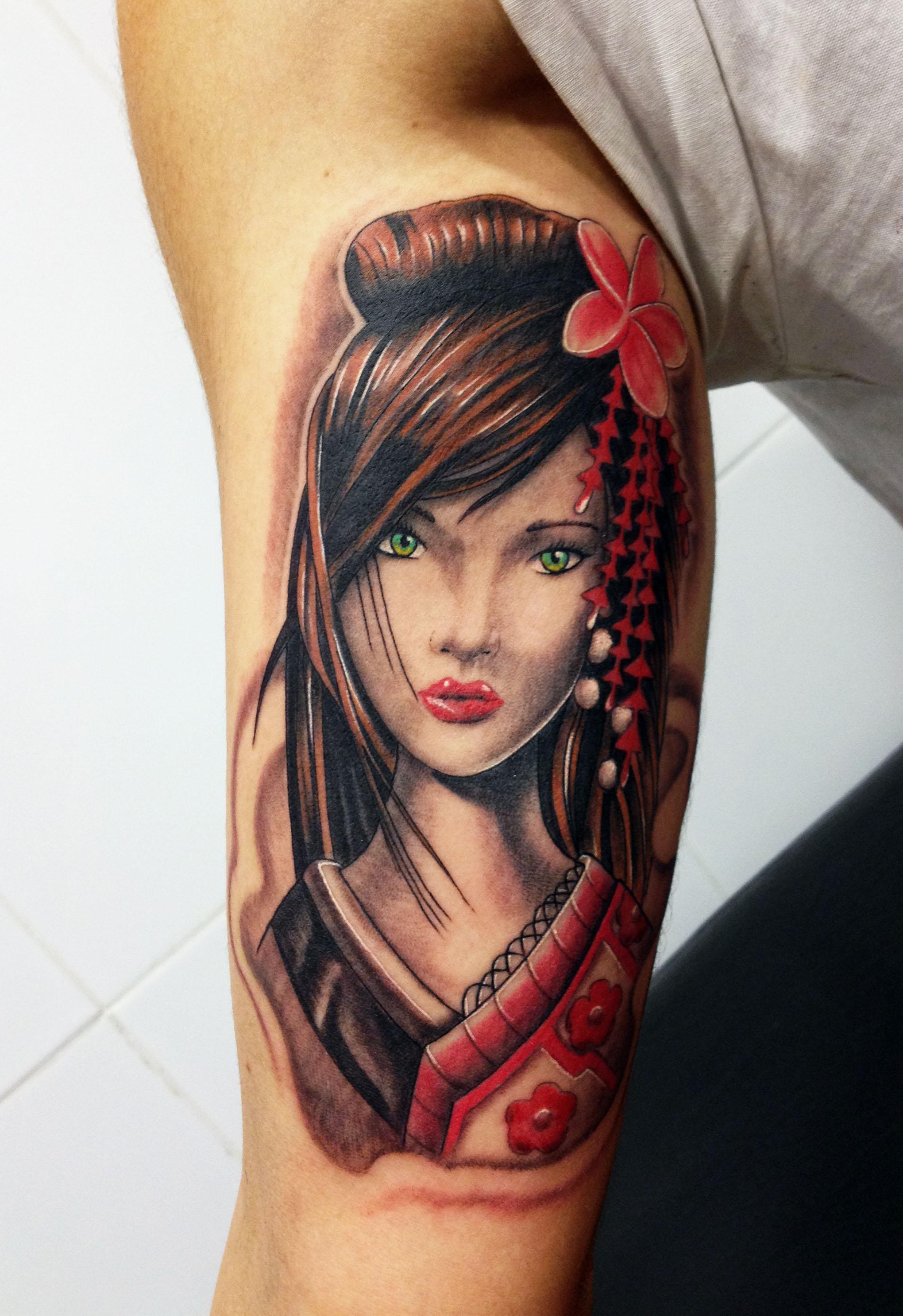 underarm Fierce Geisha tattoo
