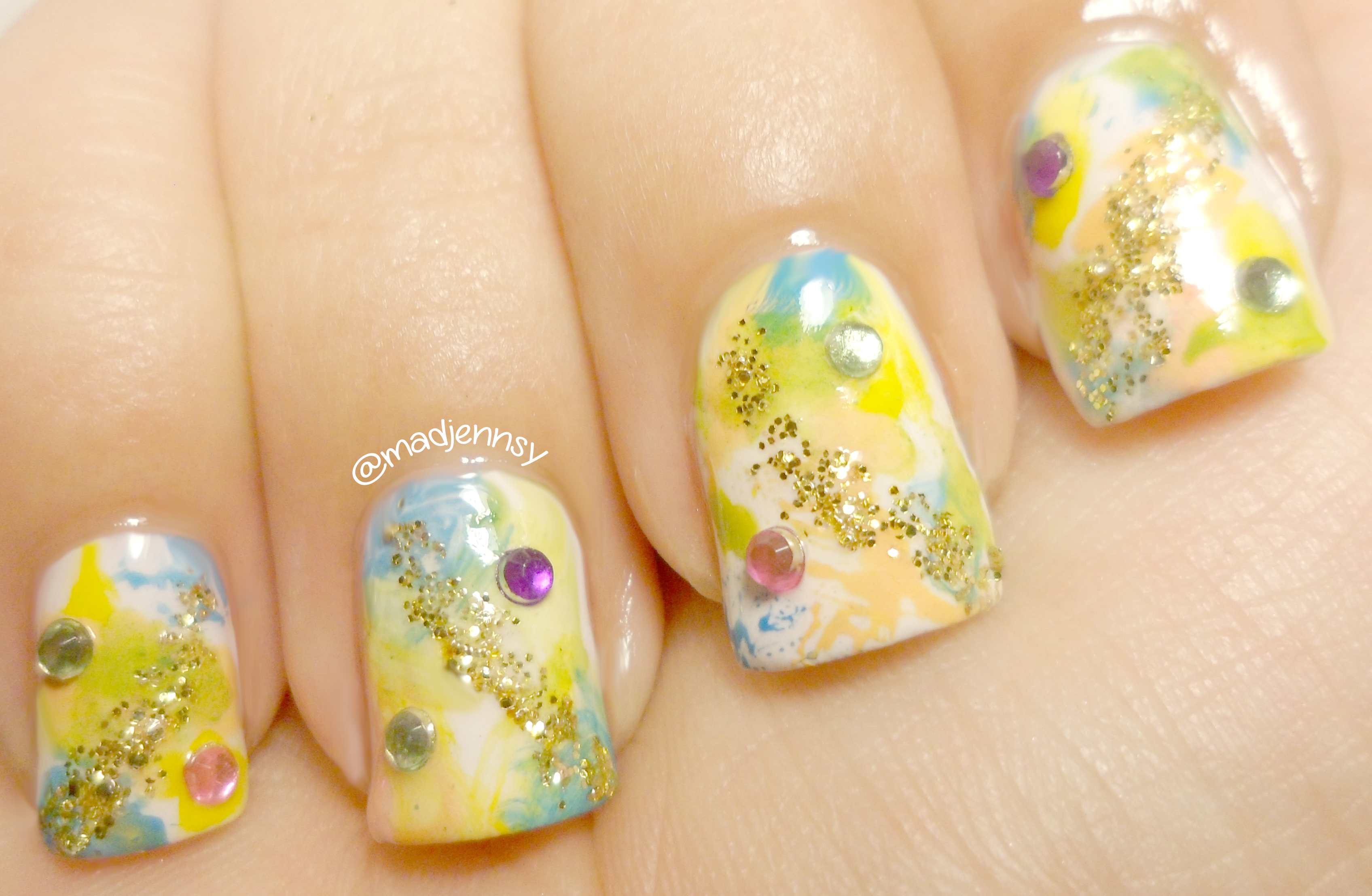 watercolor spring splash nails painting