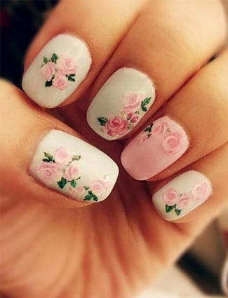 white nails with pink roses