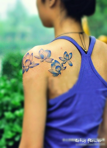 lotus flower tattoo on back shoulder