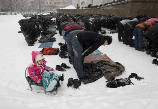 Jumma Prayer in Snow