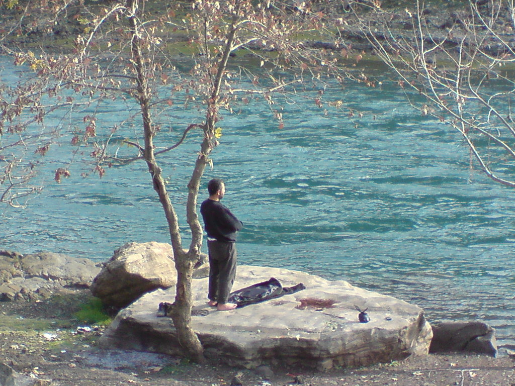 namaz prayer at lake