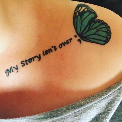 simple quote collarbone tattoo
