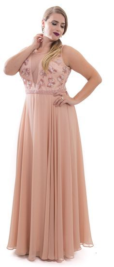 Peach perfect light colors plus size prom party dress