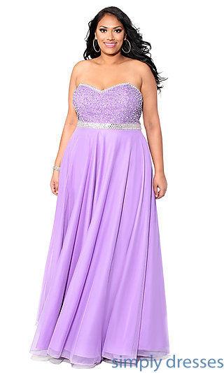 Purple empire waist strapless regular plus size prom dress