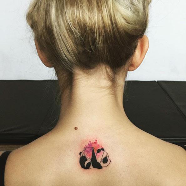 geometric panda behind neck tattoo