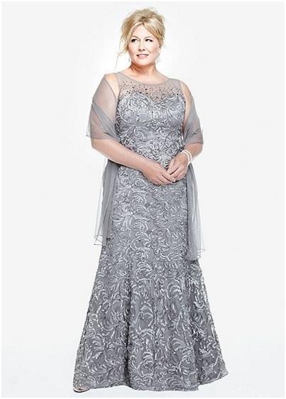 elegant silver long A-line plus size prom dress
