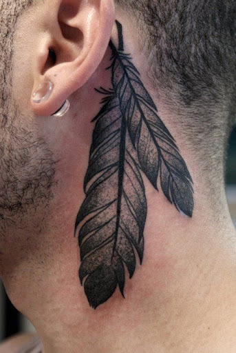 Bold Feather Tattoo on neck