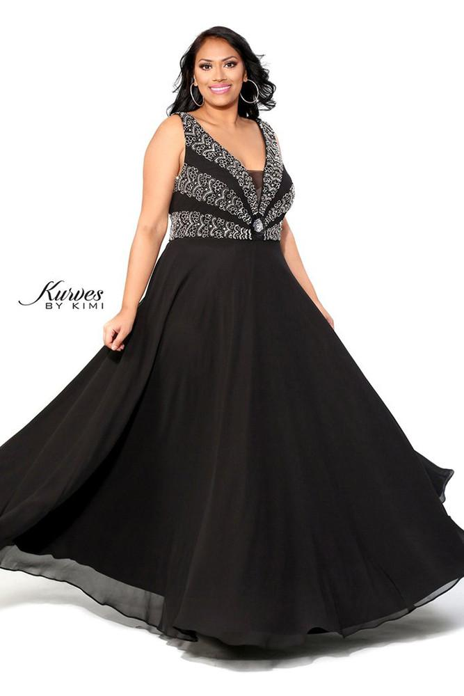 prom party plus size black evening gown