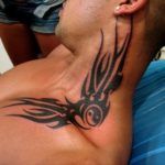 Tribal tattoo design on neck for men