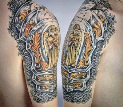Armor Knight Tattoo On Upper Arm For Men