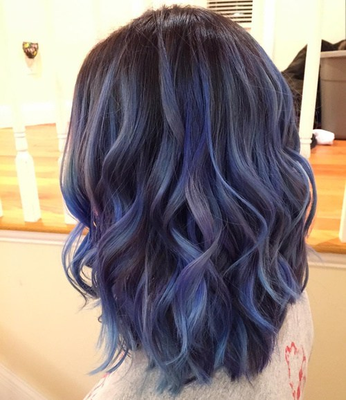 Black Hair with ash blue Top Balayage Hair Color Ideas
