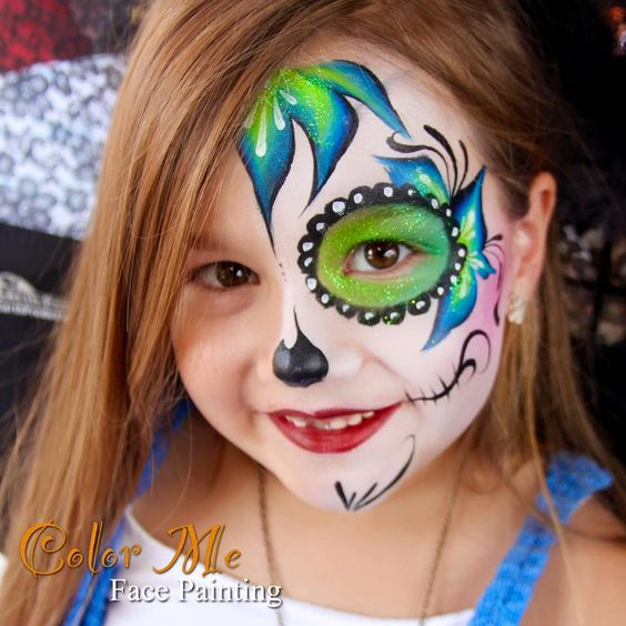 Bright colorful Sugar skull face paint
