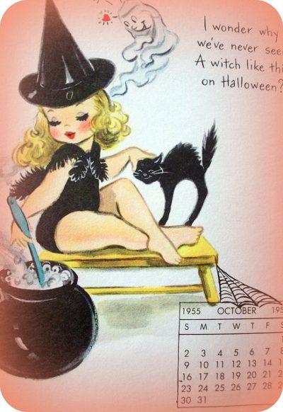 Cute Halloween Pin-up Girl October 1955