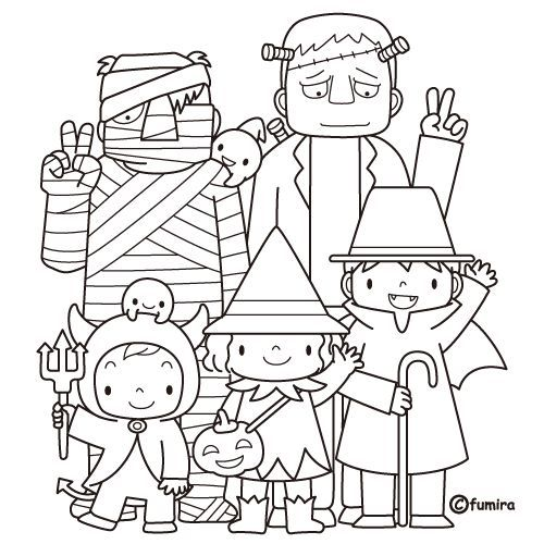 FREE Printables Kids Trick or Treat Halloween coloring pages