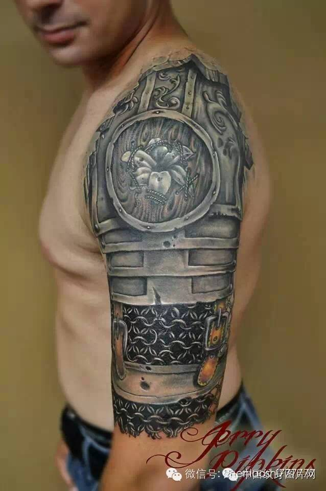 Grey Medieval Armor Tattoo On Half Sleeve