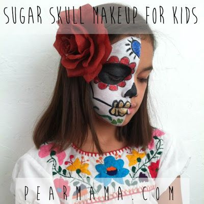 Half face sugar skull face paint
