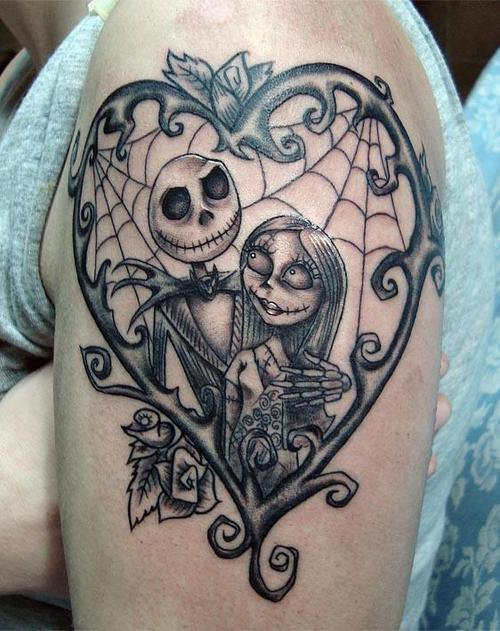 Jack and sally love heart frame sleeve tattoo