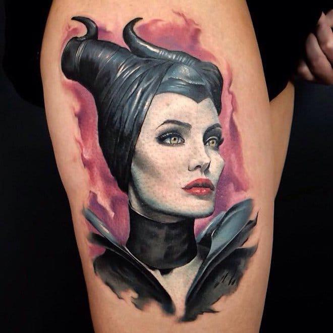 Maleficent Tattoo design on thigh