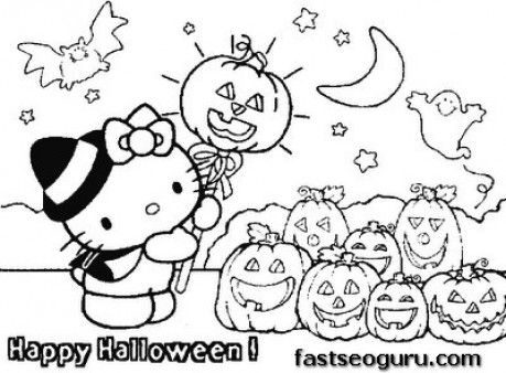 Printable hello kitty Halloween with pumpkins coloring page for kids