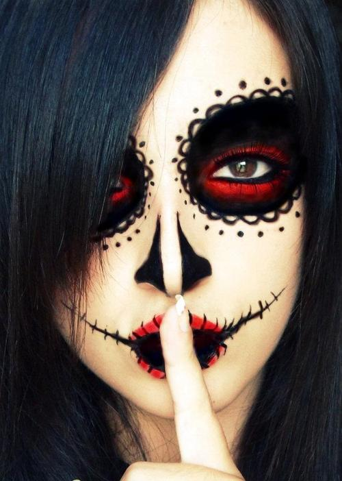 Red and black themed face paint idea