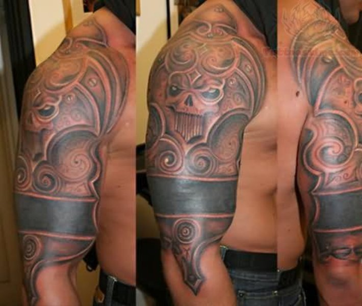 Scary Armor Tattoo On Half Sleeve