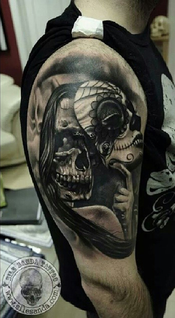 Skull mask sleeve tattoo