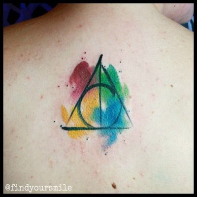 Watercolor Deathly Hallows Tattoo