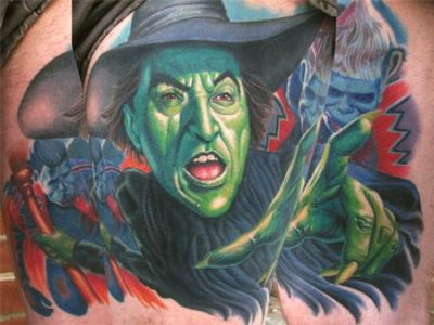 Wizard of Oz Green Face Witch tattoo