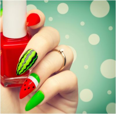Wonderful Watermelon style bright summer art design for long nails
