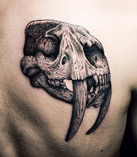 animal skull tattoo design on back