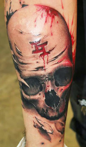 bloody candy skull tattoo design