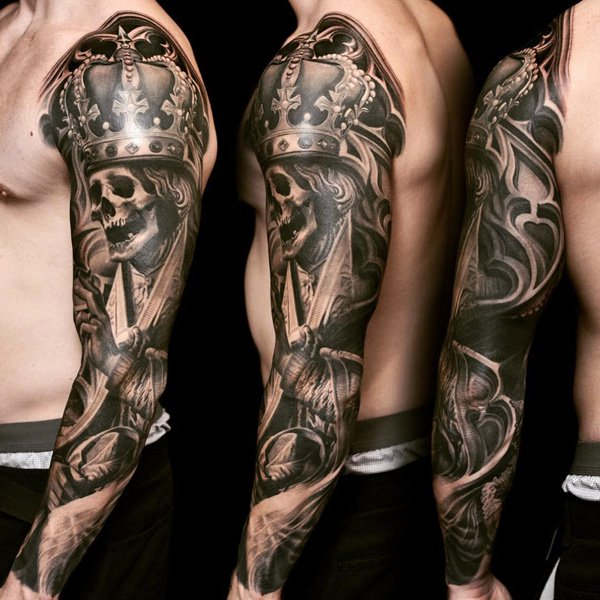 crown skull full sleeve men tattoo