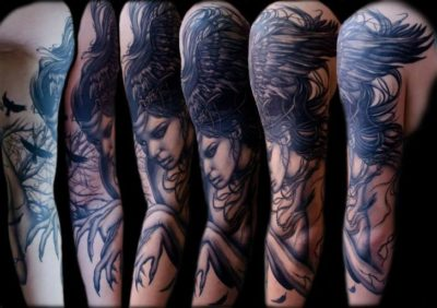fantasy witch woman sleeve tattoo