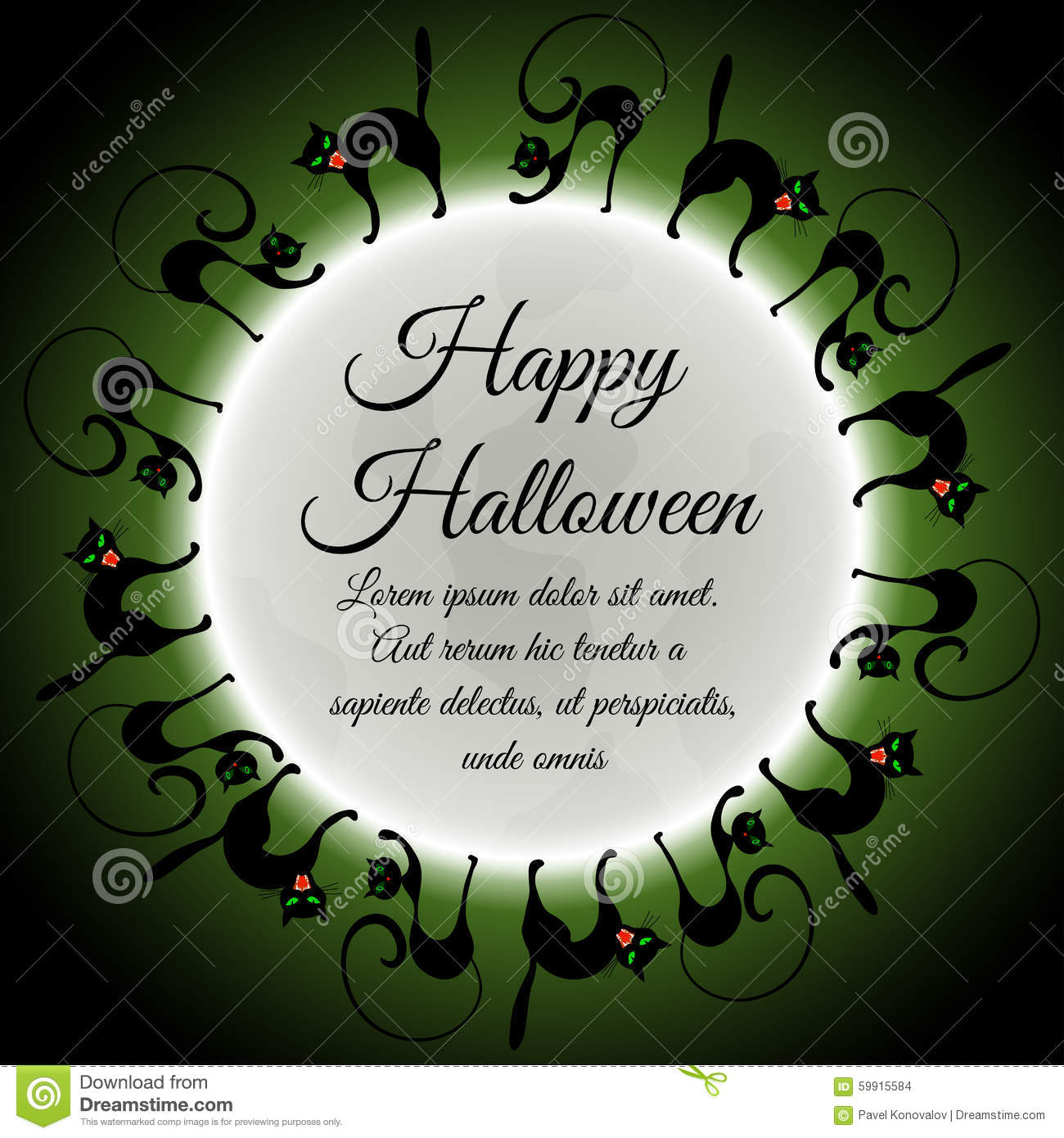 halloween-greeting-card-elegant-design-moon-green-sky-different-cats-around-moon-vector-illustration