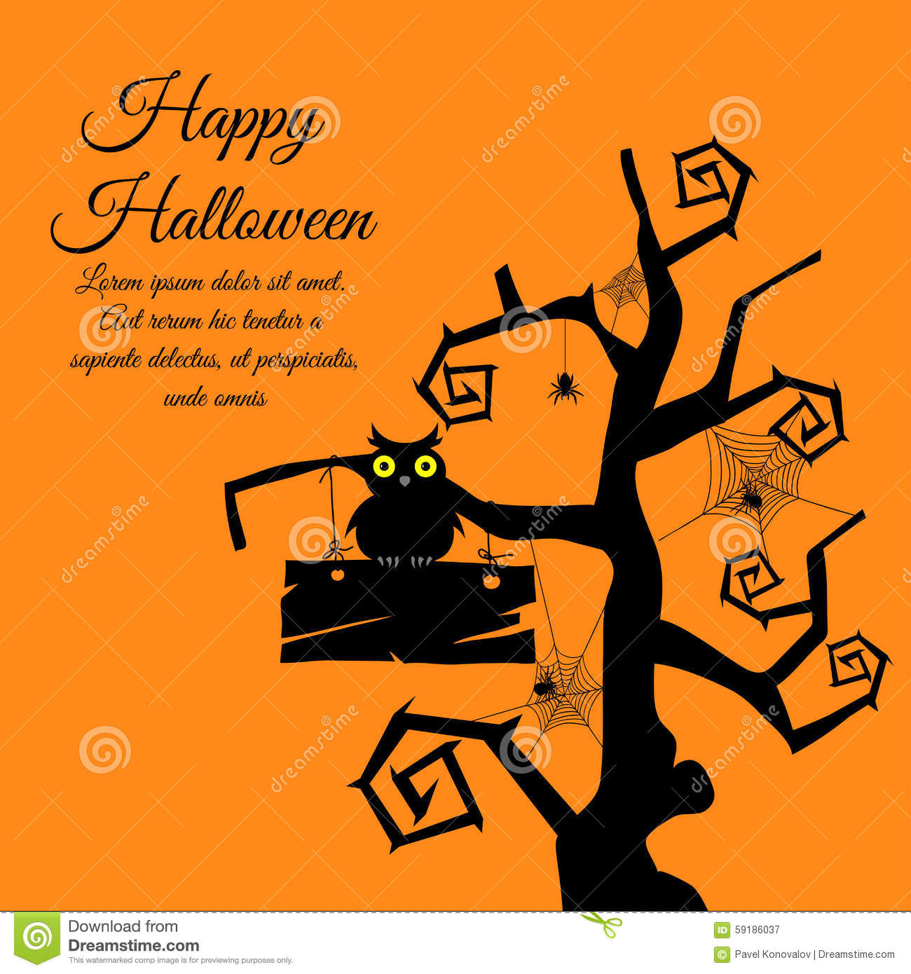 halloween-greeting-card-gothic-tree-timber-owl-webs-spiders-over-orange-background-vector