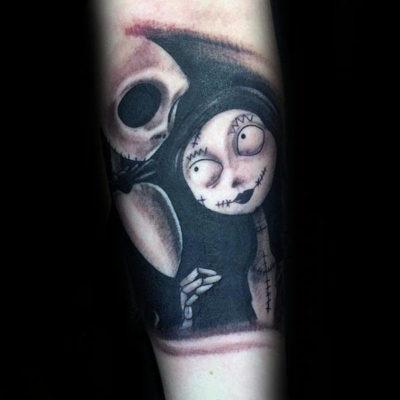 Jack skellington and sally art tattoo entertainmentmesh for Jack skellington and sally tattoos