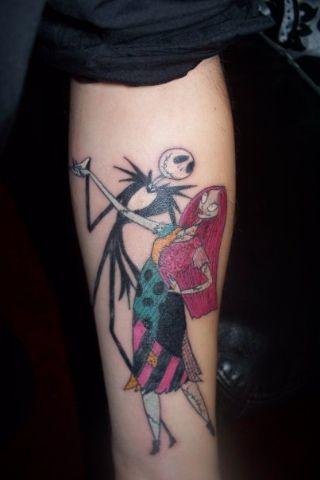 jack skellington and sally couple tattoos