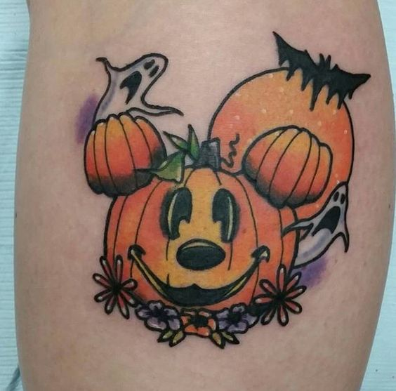 mickey pumpkin face Halloween tattoo
