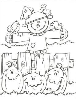 scarecrow pumpkins with free coloring pages halloween printable
