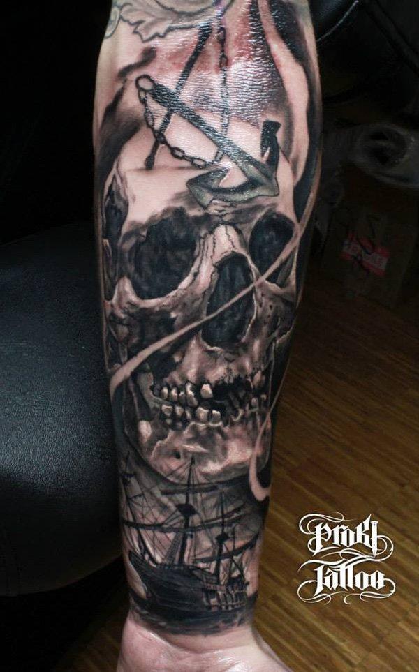 skull and boat tattoo design