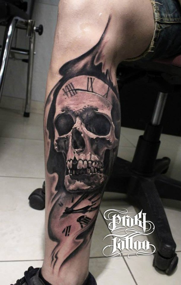 skull with watch men tattoo design