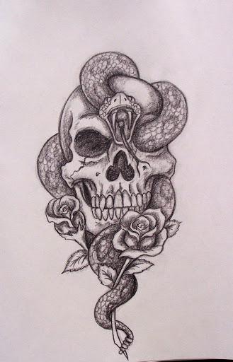 snake skull tattoo design sketch