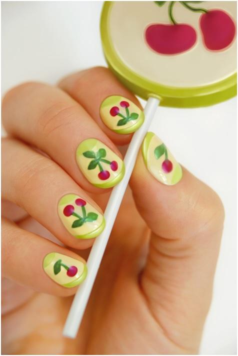 unique design colorful cherry manicure