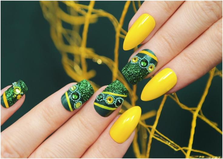 yellow and green creative nail designs