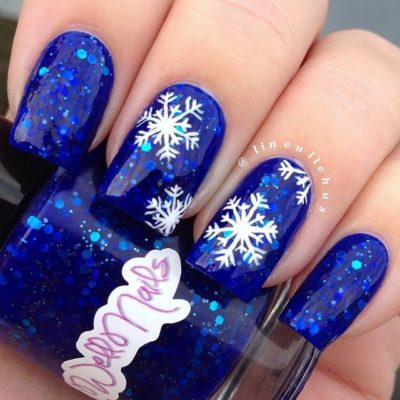 Blue Glitter Snowflakes Winter Nails