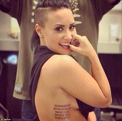 Demi Lovato roman numerals tattoos