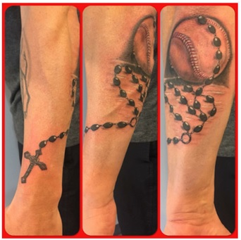 Duet of Rosary and Baseball Tattoo
