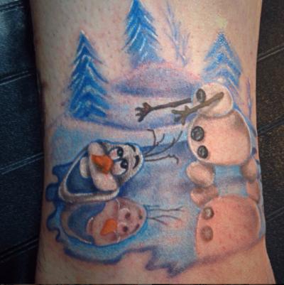 Funny Frozen Snowman tattoo