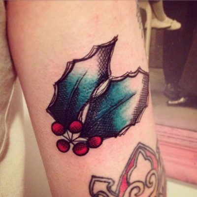 Holly berry Leaves tattoo